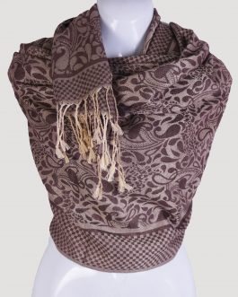 cashmere printed silk scarf with tassels