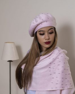 women's beaded cashmere winter hat and scarf/shawl
