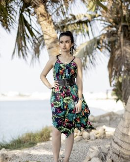 butterfly lower end sleeve less printed dress