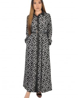 Open front with button long dress