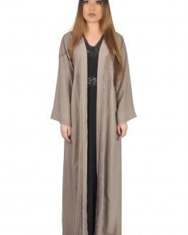 Solid color dress with open front abaya set