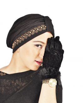 Af turban hat with fancy gold stone
