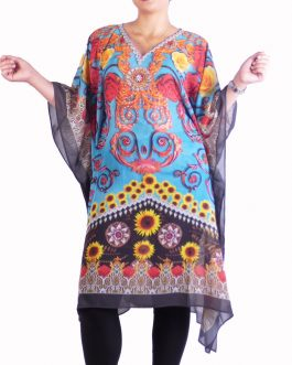 chiffon kaftan top dress v neck  with belt/tie inside