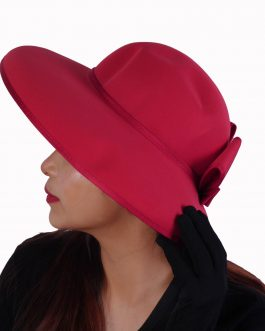 woman's solid color big hat with ribbon