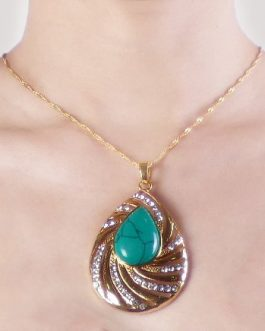 Aminata gold plated necklace with gemstone