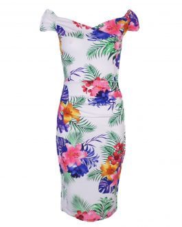 women's floral printed sleeve less dress