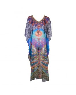 chiffon kaftan long dress v neck with belt/tie inside