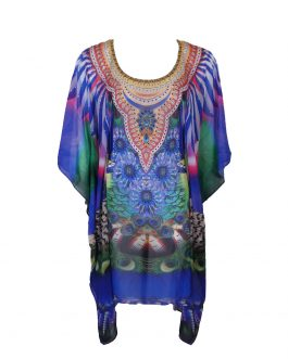 Chiffon kaftan round neck with belt/tie inside