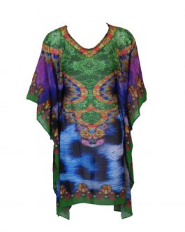 Chiffon kaftan v neck with belt/tie inside