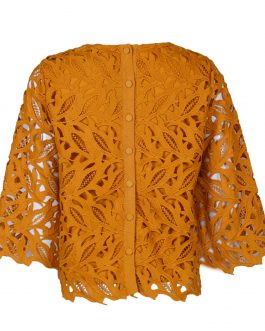 Women's lace back button long sleeve top