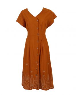 Women's Embroidered button front dress