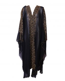 Transparent Abaya embroidered with fancy gold stone
