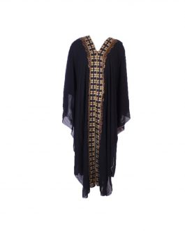 Double layer Abaya embroidered with fancy gold stone
