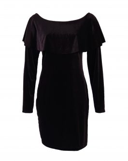 body fit off shoulder full sleeve velvet dress