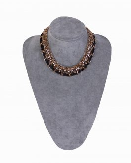 Aminata gold plated necklace with ribbon