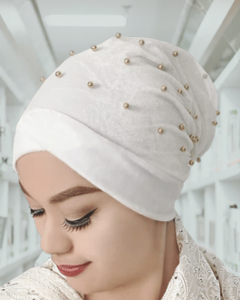 women's knitted pearl turban hat
